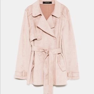 7975a4493c4 Zara NWT nude pink XS faux suede short trench coat NWT